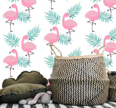Trooppinen flamingo kuvio vinyyli taustakuva