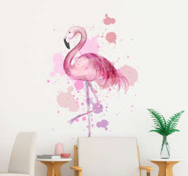 Flamingo paiting wall art klistermærke