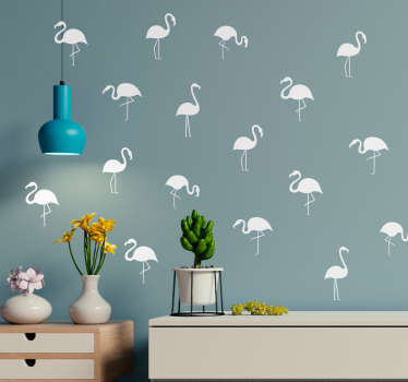 Furnish your wall with flamingos, thanks to this fantastic flamingo themed collection of wall stickers! Easy to apply.