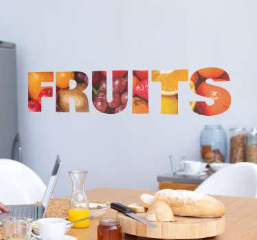 Text Aufkleber Früchte Fruits