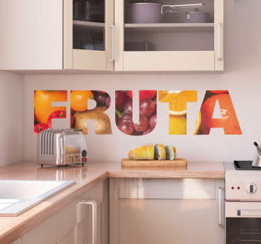 An amazing fruit text vinyl decal created in very lovely graphical styled fruit letter print . Available in any required size and easy to apply.