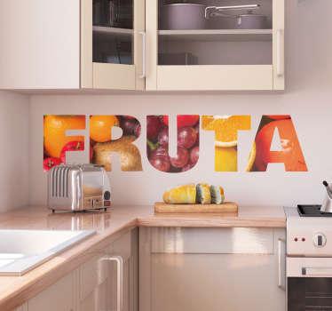 Vinilo original pared Fruta texto