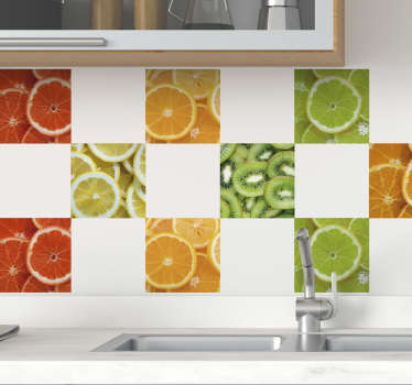 Decorate your home with this fantastic wall tile sticker, depicting various sliced fruits! Personalised stickers.