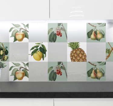 Autocolante com azulejos frutas frescas