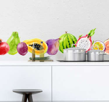 Keuken muursticker tropische vruchten