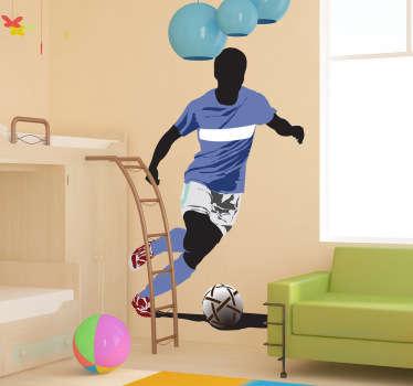 Sticker sport voetbal dribbelen