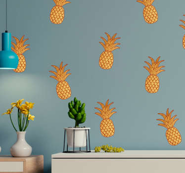 Sticker Fruit Motif Ananas Doré