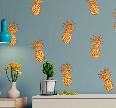 Naklejka na ścianę złote ananasy