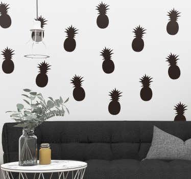 Sticker Fruit Motif Ananas Monochrome