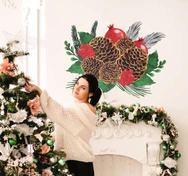 Naklejka na ścianę świąteczne szyszki