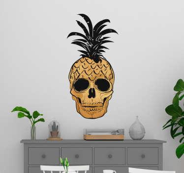 Naklejka do salonu Pop Art czaszka z ananasem