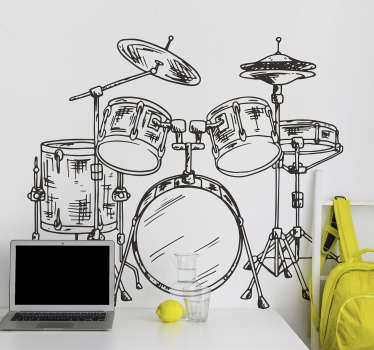 Tienerkamer muursticker drumstel