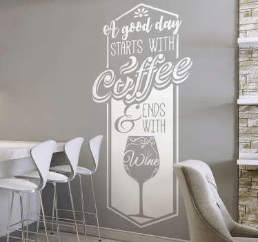 Keuken muursticker koffie & wijn