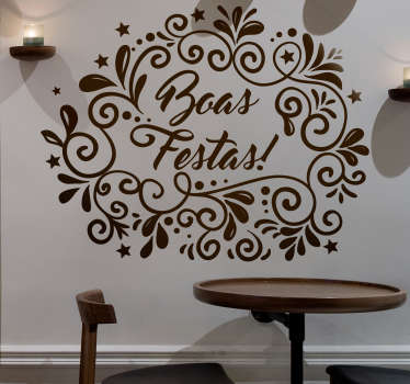A decorative ornamental wall art decal for Christmas festivity. Available in different colours and size options. Easy to apply and adhesive.