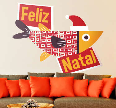 An amazing Christmas wall sticker with the design of fish boat and Christmas message text. Easy to apply and available in any required size.