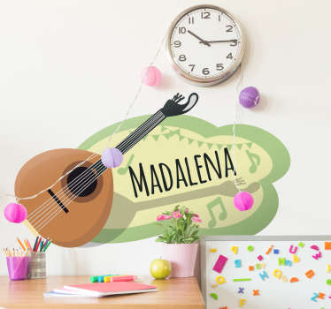 Customizable Portuguese Guitar wall sticker. Provide any desired text needed to personalise the music instrument design. Easy to apply and adhesive.