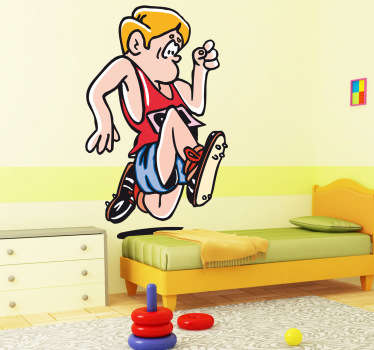Kids Stickers - Fun and playful design of a character running. The decal is simple to apply to all flat surfaces. High quality.