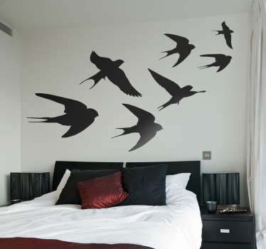 Sticker Oiseau Hirondelles Monochrome