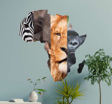 Adesivo murale animali e continente