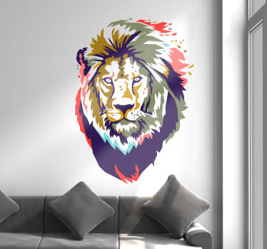 Sticker Maison Lion Africain Coloré