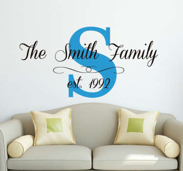 Customisable Family Name Date Wall Sticker
