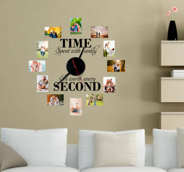 Add your favourite photos to a clock sticker to make sure that it is always time for your family! Easy to apply.  Perfect for any room