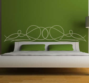 An elegant headboard wall sticker to decorate your bedroom and enjoy the atmosphere this original and creative bedroom decal offers!