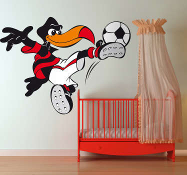 Fun and colourful kids sticker illustration of a bird kicking a ball. If your child is passionate about football decorate his or her room with this design. Great cartoon sticker to bring an action shot to your child's room and fill the empty space in the wall.
