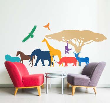 Kleurrijke Safari Dieren Muursticker