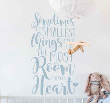 Smallest Things Heart Quote Wall Sticker
