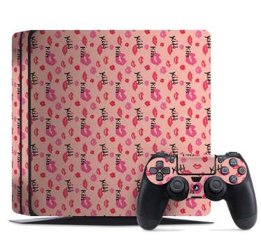 "Naklejka na PS4 ""kiss"" na różowym tle"