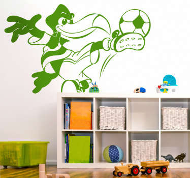 Kid Wall Stickers- Fun and colourful illustration of a bird kicking a ball.