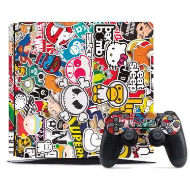Naklejka na PS4 kolaż postaci z kreskówek