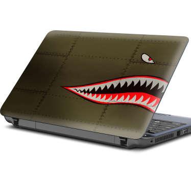 Grønn haj bærbar klistremerke