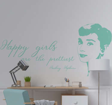 Silhouette sticker Audrey Hepburn quote
