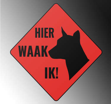Dog banner sticker to  place on flat surface like garage or door entrance as sign warning for dig. Easy to apply and available in different sizes.
