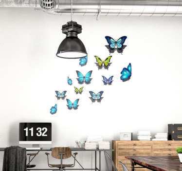 Decorative butterflies wall sticker created in multicolored style. A lovely living room and bedroom design. Easy to apply and self adhesive.