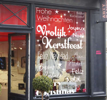 Christmas window sticker to decorate a shop space. A multiple language Christmas greeting design. Easy to apply and self adhesive.