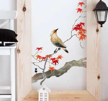 Sticker Oiseau Branche Japonais Rouge