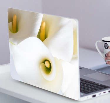 Hvit blomst laptop klistremerke