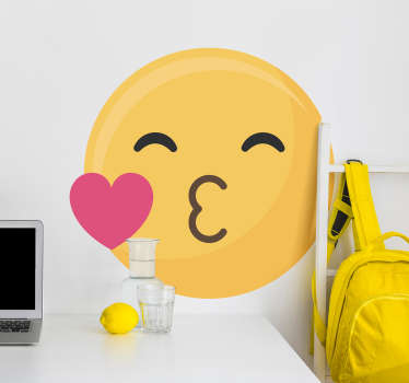 Kinderkamer muursticker kus emoticon