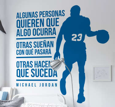 Sport silhouette wall sticker to decorate the room of teens. It is a basketball player design with motivational text quotes.