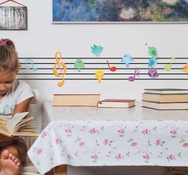 Adesivo murale uccelli e musica per cameretta