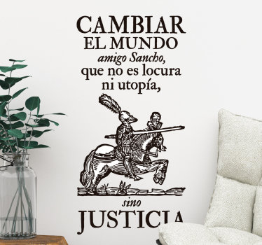 Literature wall art decal with quote inspired by Sancho panza. Available in any required size option. Easy to apply and self adhesive.