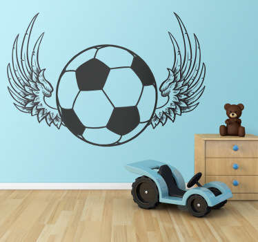 Stickers décoratif représentant un ballon de foot avec des ailes. Sélectionnez les dimensions de votre choix pour personnaliser le stickers à votre convenance.Super idée déco pour la chambre des garçons.