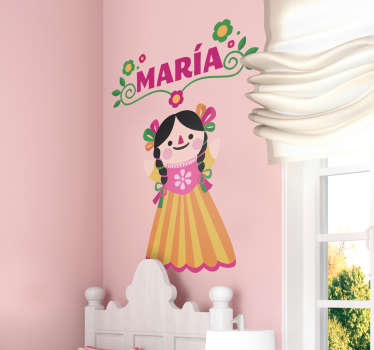 Vinilo pared muñeca Mexicana personalizable