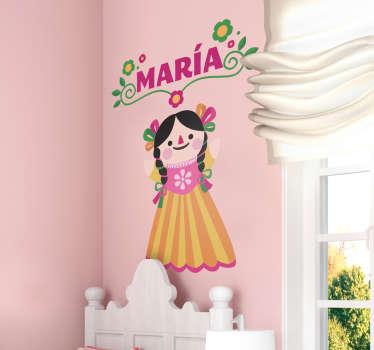 아이 방 훈장을위한 customizable 멕시코 인형 벽 스티커. 디자인을 개인화하기 위해 원하는 이름을 제공하십시오. 적용하기 쉽고 접착제.