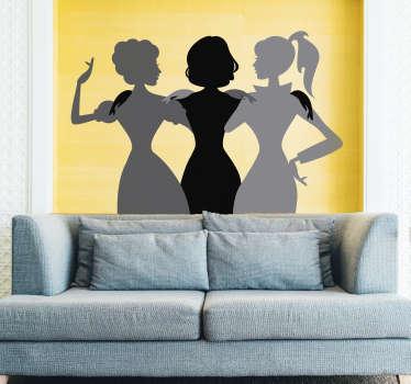 sticker silhouette girls band
