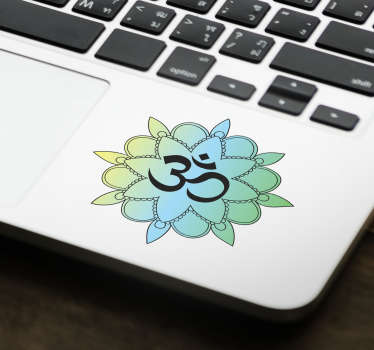 An adhesive om symbol vinyl decal with ornamental flower design to decorate a laptop surface. Available in different sizes and easy to apply.