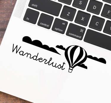 Laptop sticker wanderlust luchtballon